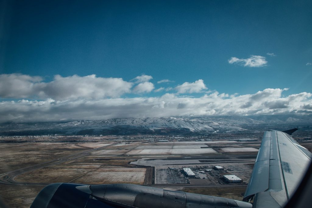 View from an airplane over Denver Airport.
