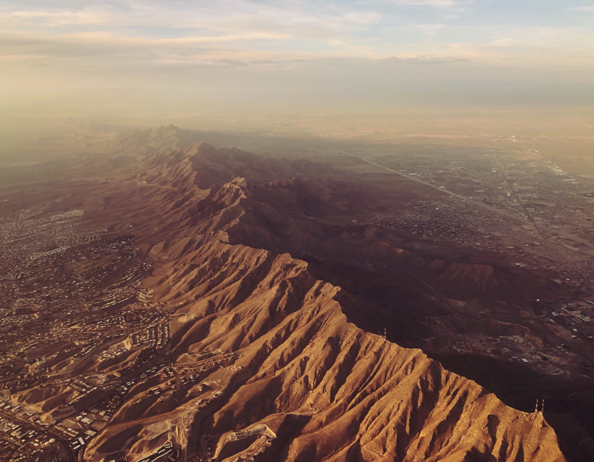 Aerial view of El Paso Texas and desert