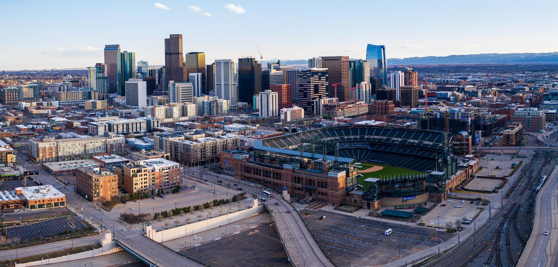 Denver Colorado skyline and ballpark.