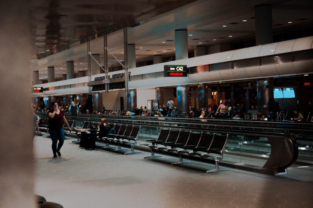 Row of seats at Denver Airport.