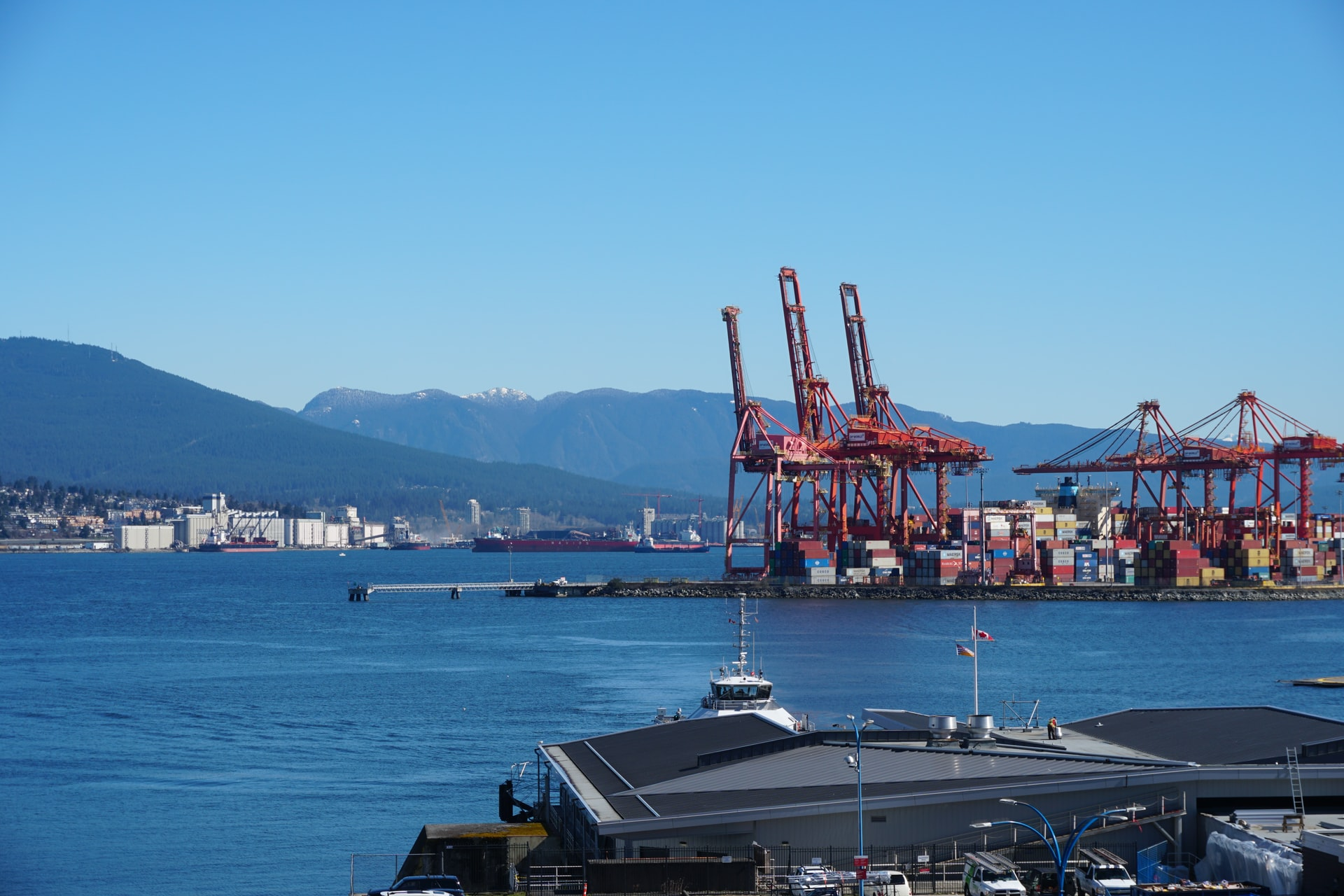 Downtown Vancouver port and shipping.