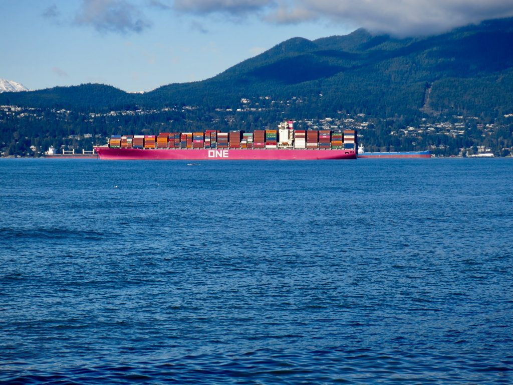 Container ship on water in Vancouver.